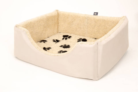 Pet luxury avondale dog bed square suede fleece lined cream