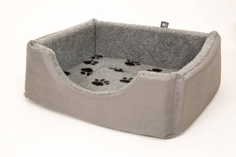 Pet luxury avondale dog bed square suede fleece lined grey