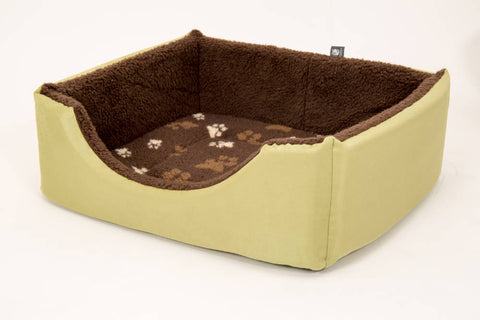 Pet luxury avondale dog bed square suede fleece lined olive green