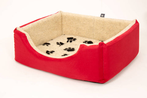 Pet luxury avondale dog bed square suede fleece lined blue