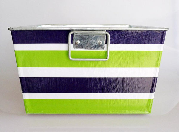 Big Bin - Green + Navy Stripes with Circle Monogram