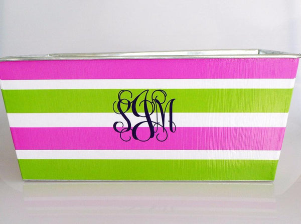 Big Bin - Hot Pink + Green Stripes with Fancy Monogram