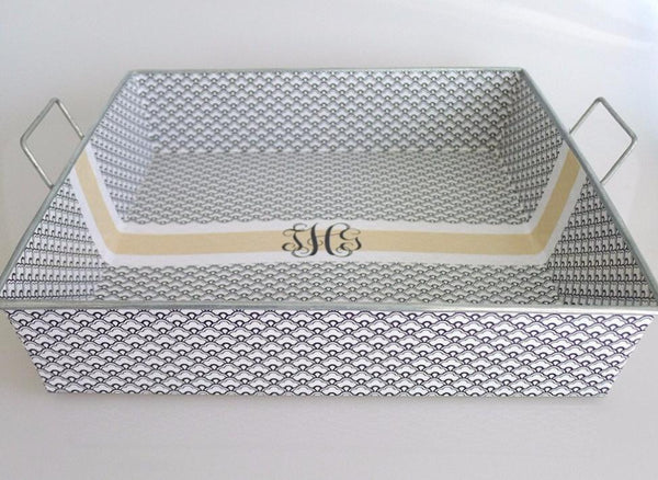 Big Tray - Black Scallops with Fancy Monogram