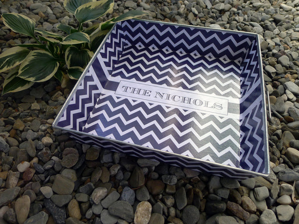 Big Tray - Navy Chevron