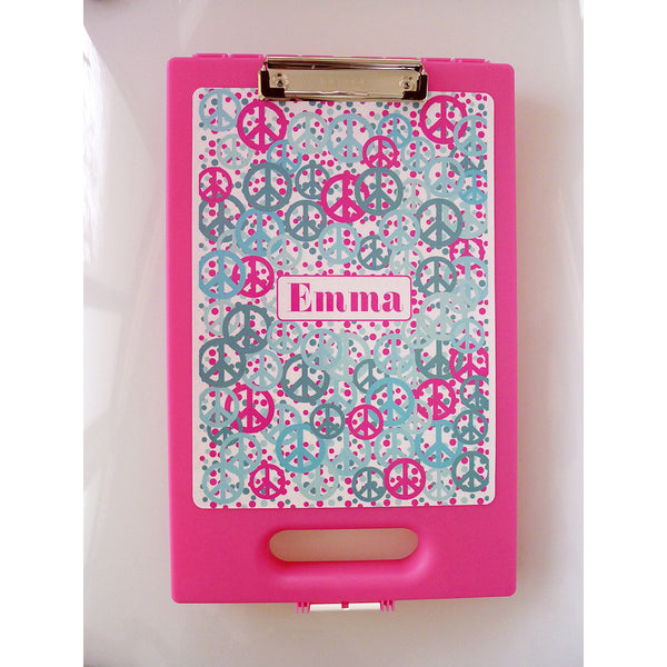 Pink Clipcase - Hot Pink Turquoise Confetti + Peace Signs