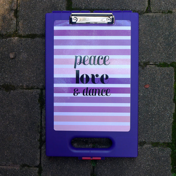 Purple Clipcase - Purple Stripes Peace Love Dance