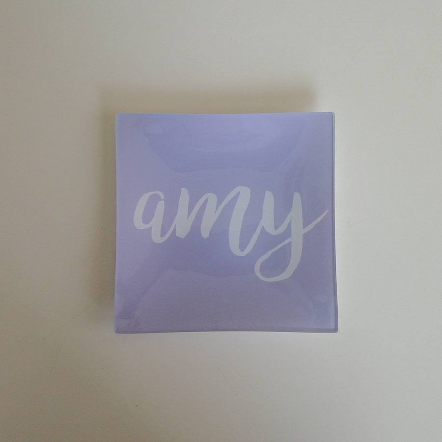 Lavender and White Handwritten Script Square Trinkets Tray