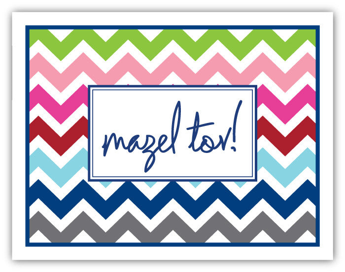 Multi Chevron Mazel Greeting Card
