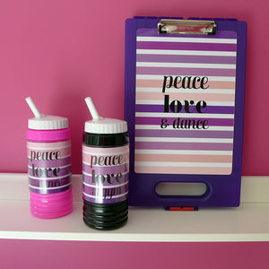 Kids Water Bottle - Peace Love Dance