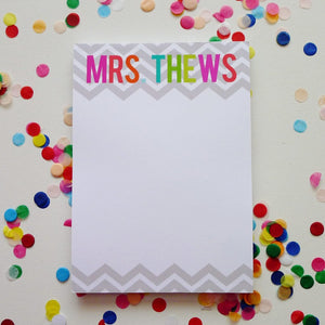 Silver Chevron Bold Name Notepad