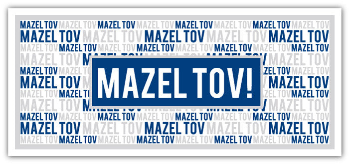 Mazel Tov Block Text Blue + Gray Long