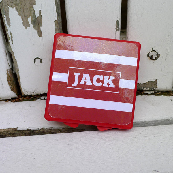 Red Mini Box - Red Stripes Personalized