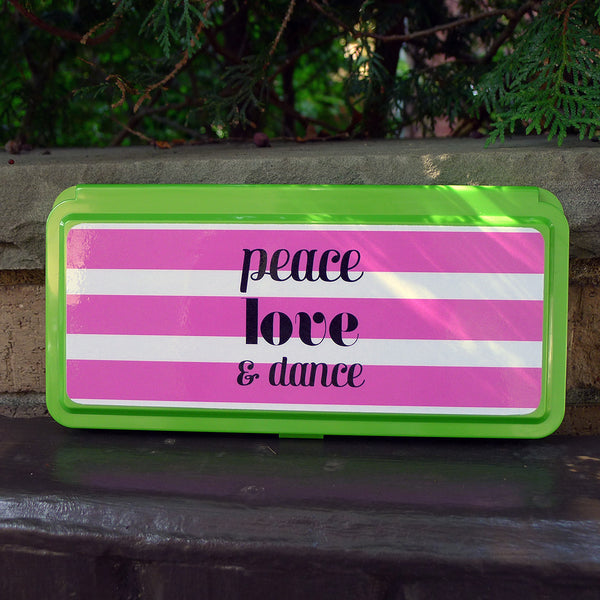 Lime Green Pencil Box - Hot Pink Stripes Peace Love Dance