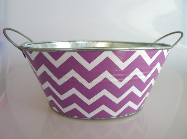 Little Bin - Lilac Chevron with Initial