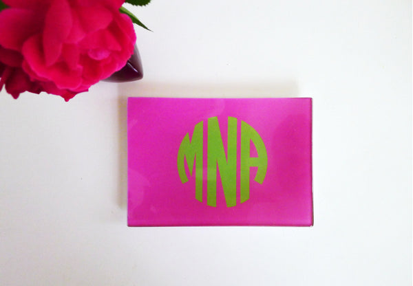 Small - Hot Pink + Light Green Circle Monogram