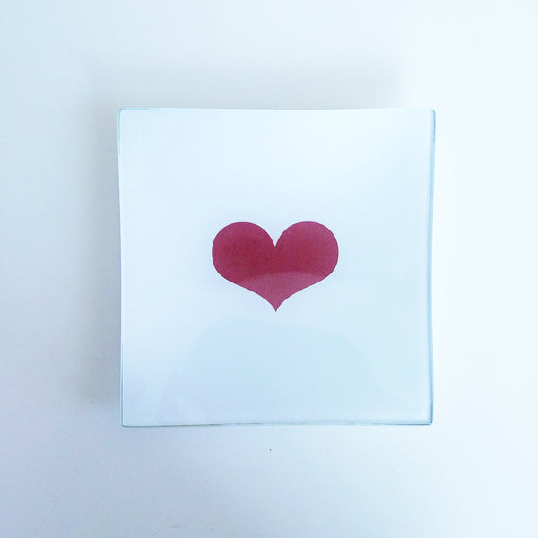 LIMITED EDITION Mini Decoupage Glass Tray - Red Heart