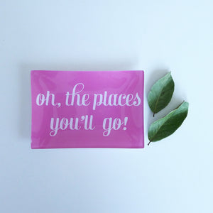Small - 'oh, the places' hot pink