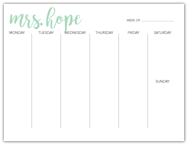 Weekly Deskpad - Mint