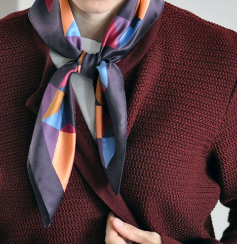 Bordeaux Triangle Silk Scarf