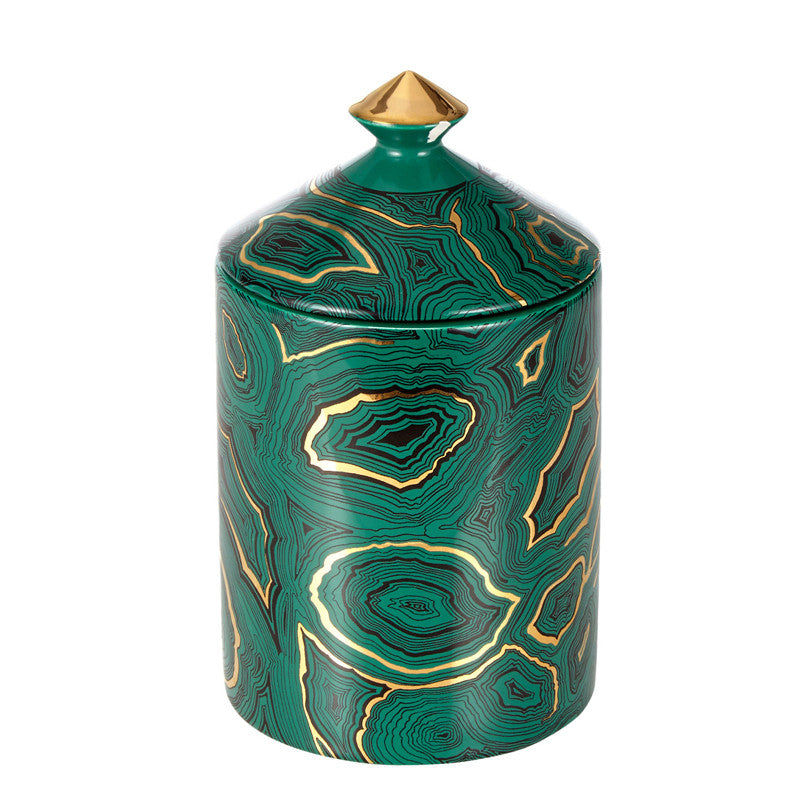Malachite Lidded Candle