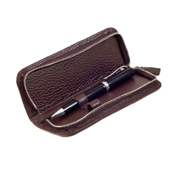 Leather Pen Case In Chocolate