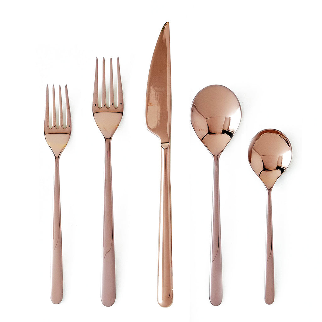 Linea Mirror Copper Flatware Set