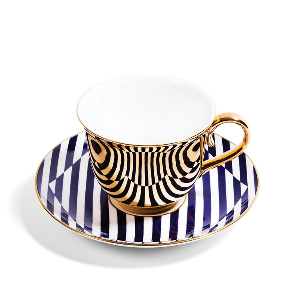 Superstripe Warp Teacup & Saucer - Gold