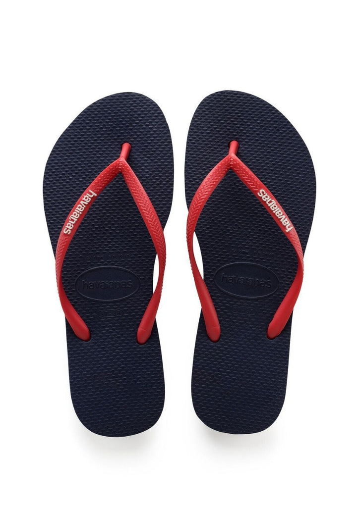 Havaianas 'Slim Pop Up Logo' in Navy Blue / Ruby Red