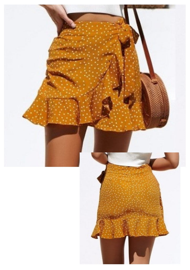Ava 'Bella' Polka Dot Skirt in Mustard