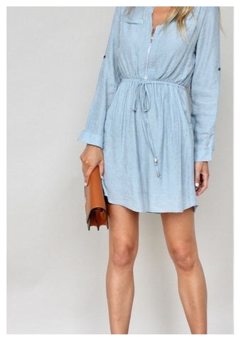 House of Sienna 'Trudii' Shirt Dress in Steel Blue