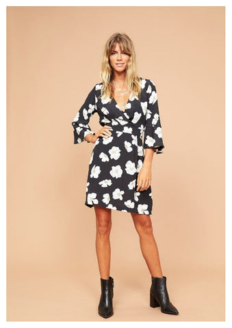 Billions & Trillions 'Lana' Floral Faux Wrap Dress with 3/4 Sleeve
