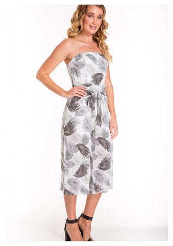 A Joy 'Zara' Jumpsuit in Olive Green Palm Print