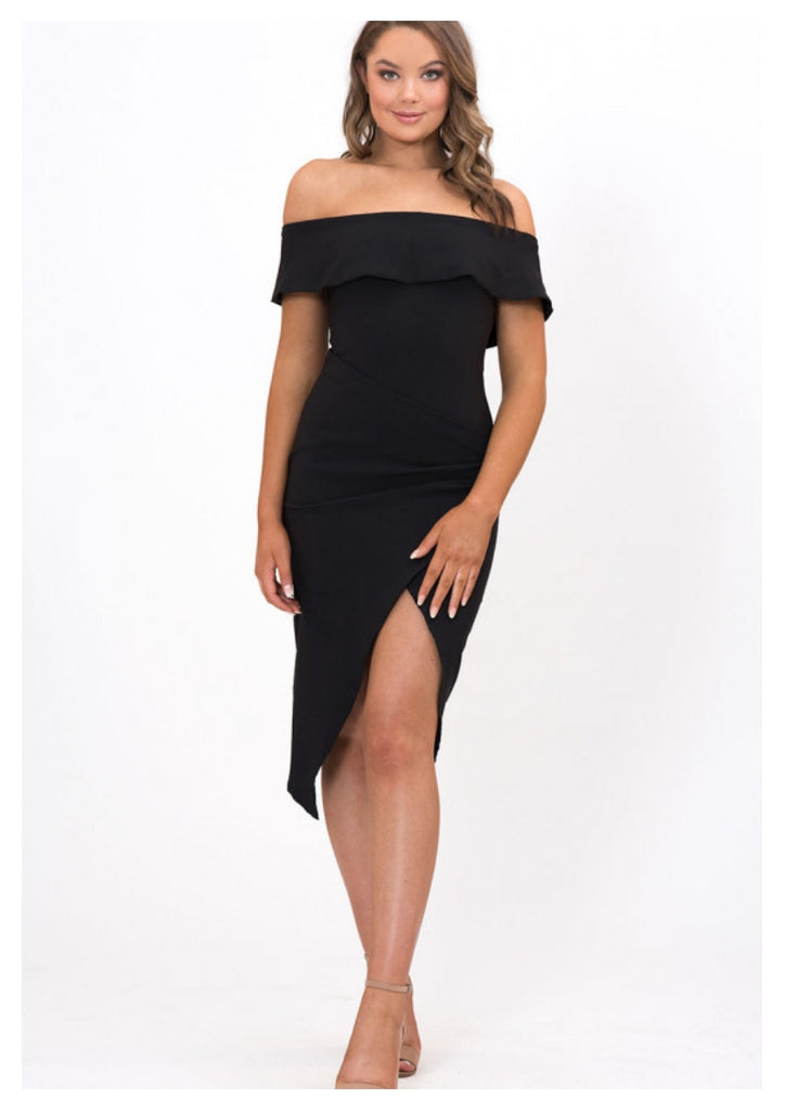 A Joy 'Jennifer' Off the Shoulder Body Con Dress in Black