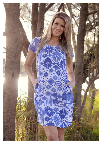 Red Lotus 'Layla' Dress in Blue Mosaic Print