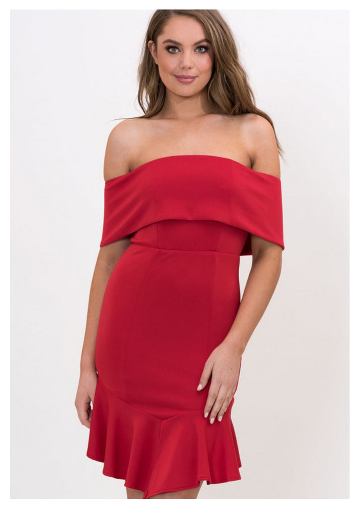 Style State 'Jenna' Off The Shoulder Bodycon Dress in Red