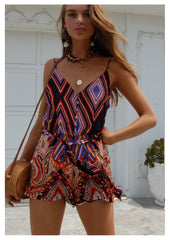Neon White 'Allegra' Playsuit in Geo 70's Print