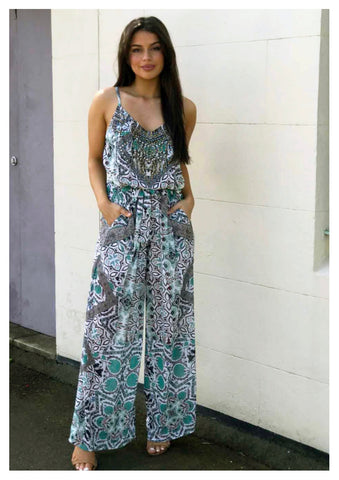 Gigi & Ella 'Myer' Jumpsuit In Teal Tribal Print