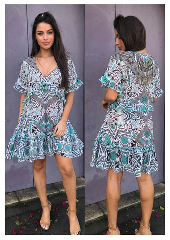 Gigi & Ella 'Flutter' Dress in Teal Tribal Print
