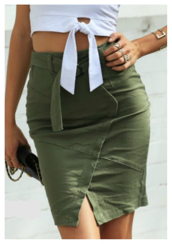 Refuge 'Ellie' Khaki Skirt With Circle Buckle