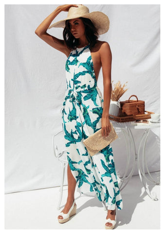Sundays 'Cyan' Jumpsuit in Tropical White