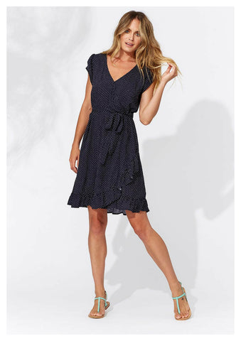 Haven 'Milos' Wrap Dress in Navy with White Palm Print
