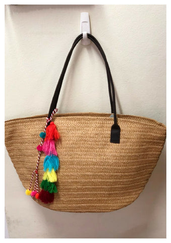 Free Spirit 'Beach' Bag with Multi Coloured Tassel Detail