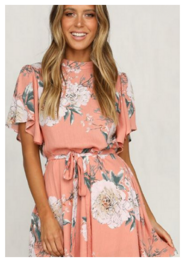 Sundays 'Lilian' Dress in Peach Floral