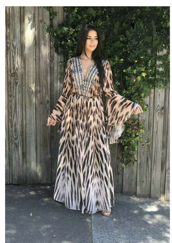Gigi & Ella 'Eris' Cape / Dress in Leopard Queen
