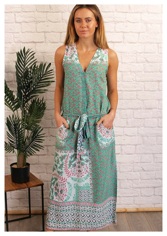 Freez 'Resort' Dress in Mint & Pink Floral Print