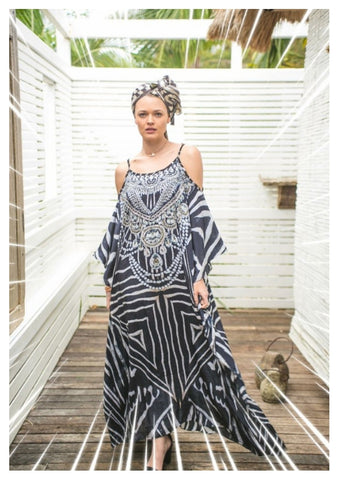 Embellished Kaftans Long Cut Shoulder Kaftan in Zebra