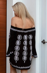 Red Lotus 'Belle' Off the Shoulder Dress in Black with White Embroidery