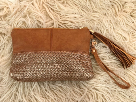 Textured 'Two Tone' Clutch in Tan (Small)