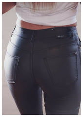Refuge 'Oil Rigger' Jeans High Waist 7/8 Length in Black
