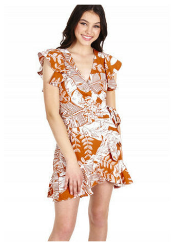 Ajoy 'Maddie' Wrap Dress in Tan & White Print